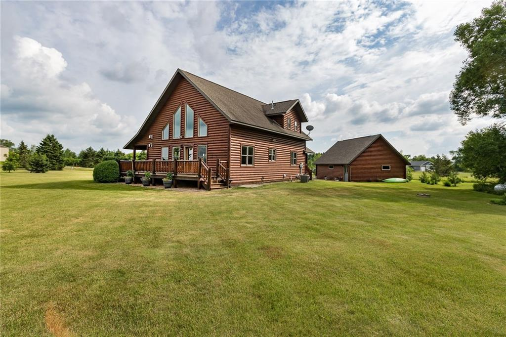 This beautiful, one-of-a-kind log home has been very cared for. It sits in a hard to find private country setting. Built just a few years ago, this home has always been well maintained. It offers an open yard, one-level living and easy access to the major highways for commuting. The log home has many great features such as: dual fireplaces, tile floors, hardwood floors, vaulted ceilings, huge windows, giant family room, a full length porch and a garage with the loft for extra space.