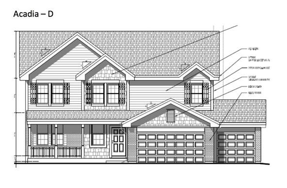 "Estimated completion date 5/31/21. Vulcan Building LLC presents their Acadia Model. Beautiful open concept 2500sqft two-story! 4bed/2.5bath/3car Granite countertops in kitchen and bathrooms! Kitchen complete with island, walk in pantry, and 42"" furniture grade, soft-close cabinets. Stainless steel stove, dishwasher, and microwave. White solid wood doors and trim. Tiled surround in shower & bathtub. Upgraded carpet. Master suite with private bath and walk-in closet. Upstairs laundry. 2x6 exterior construction. Full basement with egress window and preplumbed for a bath! Includes drive, sod (per plan), and central air. Comes with one year builder comprehensive warranty! Photos are representative of floor plan."