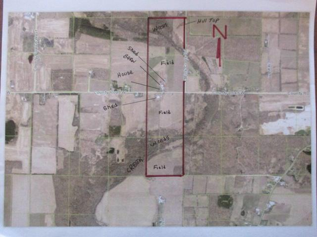 166 acre farm a mile long and a quarter mle wide set in the Kettle Moraine. Hills, woods, forest, creek, and farm fields. Two sets of farm buildings on north and south sides of Hwy W. One farm house. Two pole sheds.