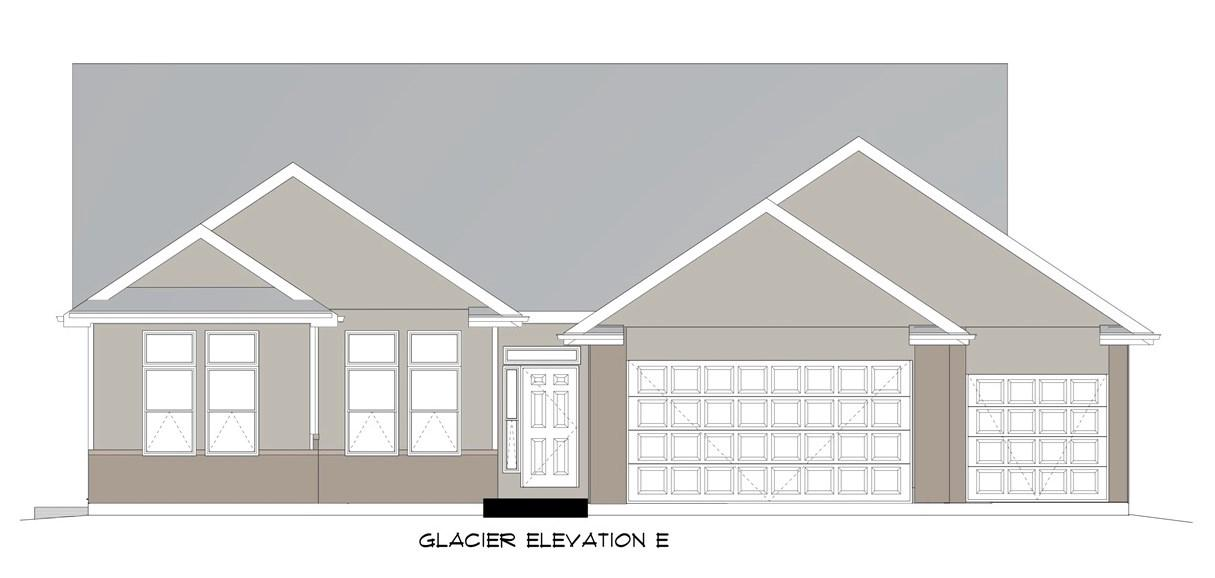 "Est. Completion 7/31/21. Vulcan Building LLC presents their Glacier floor plan. Beautiful open concept 1920sqft ranch with 10ft ceilings. 3bed/2bath/3car. White solid wood doors and trim. Granite countertops in kitchen and bathrooms. Kitchen complete with island, walk in pantry, and 42"" furniture grade, soft-close cabinets. Stainless steel dishwasher, stove, and microwave. Tiled surrounds in shower and bath. Upgraded carpet. Large office. Master suite with bay windows, private bath with dual vanity, and walk-in closet. First floor laundry. 2x6 exterior construction. Full basement with egress window and preplumbed for a bath! Includes driveway, sodded yard (per plan), and central air. Comes with one-year builder comprehensive warranty! Photos representative, actual home may vary."